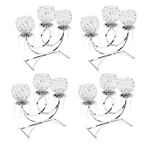 joyMerit 4 Unids Candelero De 3 Brazos De Cristales De Mosaico Candelabros Luz De Té