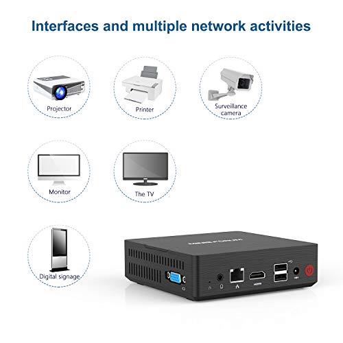 Mini PC, Intel Pentium J3710 Processore Quad-Core CPU 4 GB DDR / 128 GB SSD Mini Desktop Computer con Windows 10, HDMI e VGA, Dual Band WiFi 2,4 + 5,8 G, BT 4.2, USB 3.0