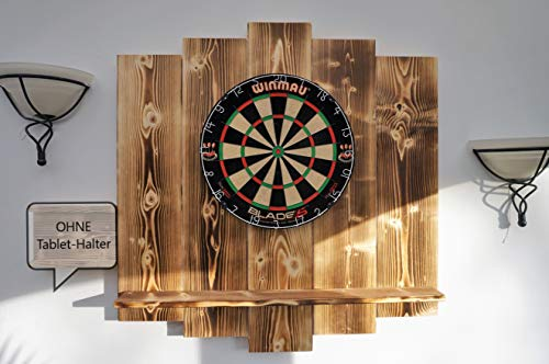 WDS Darts Sports Wooden Dartboard Surround - Premium Dart-Wandschutz & Tablet-Halter - Powered by Maximiser Max HOPP (Catchring, Dart Umrandung) Burned Look
