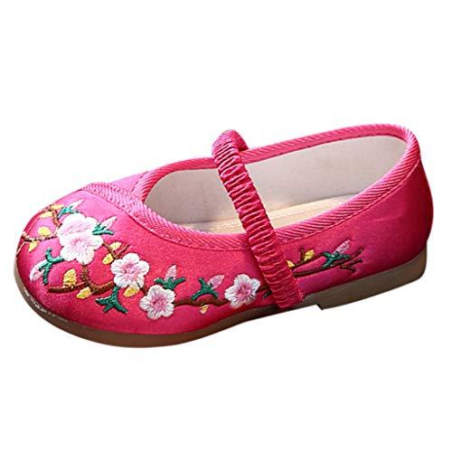 Alwayswin Kleinkind Baby Mädchen Einzelne Schuhe Weiche Sohle Prinzessin Schuhe Blume Bestickte Chinesische Artgummiband Tanzschuhe Casual Sneaker Dance Schuhe