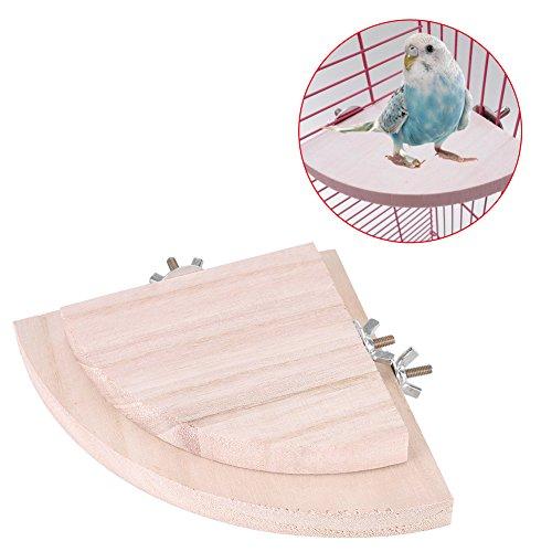 Soporte para pájaros, plataforma de pájaros, 2 perchas de madera para loro jaula mascota parakeet Budgie juguetes colgantes hámster forma de ventilador juego