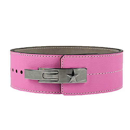 DYFAR Gewichthebergürtel, Trainingsgurte Wildleder Power garantiert Powerlifting Hebel Schnalle Gym Workout Fitness Crossfit Gewichthebergürtel, Pink, XL