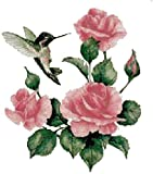 Hummingbird and Roses Counted Cross Stitch Pattern