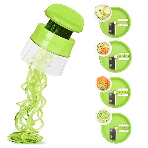 KUACALL Handheld Spiralizer Vegetable Slicer 4 in 1 Veggie Spiral Cutter Zucchini Noodle Maker Spiral Slicer Great for Salad
