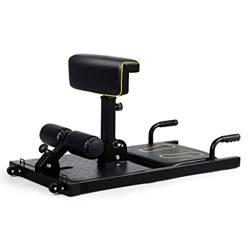GYMAX Sissy Squat Machine, 8-in-1 Workout Machine with Adjustable Height & Protective Foam, Multiple Position Training Machine for Push-up, Sit-up, Rope Exercise, Home Gym (Black)