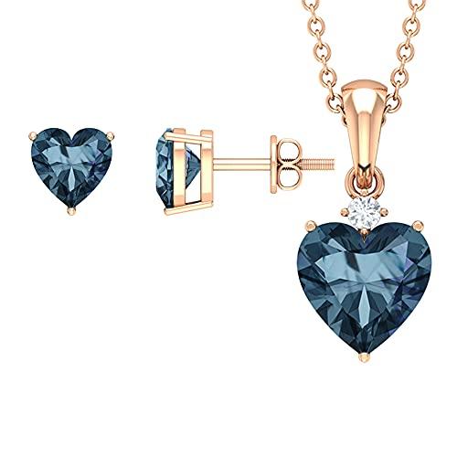 3.75 CT solitario conjunto de joyas con forma de corazón creado Alexandrita y diamante naranja