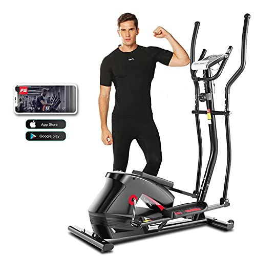 ANCHEER Elliptical Machine for Home Use, 2021 Newest APP Elliptical Machine Cross Trainers with Adjustable 10 Level Magnetic Resistance for Indoor Fitness Gym Workout Max Weight Capacity 390Lbs