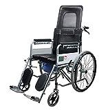 D-Q Autopropulsada plegable silla de ruedas con el frente y trasero Freno de mano Aseo conveniente for mayores, discapacitados, personas de movilidad reducida con silla de ruedas Usuarios Con segurida