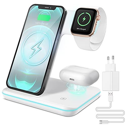 CAVN Cargador inalámbrico 3 en 1, Compatible con Apple Watch & AirPods, Cargador Inalambrico Qi Cargador Rápida Compatible con iPhone 12/11 Pro/XR/XS/X/8, iWatch Series SE/6/5/4/3