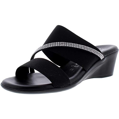 ITALIAN SHOEMAKERS Womens Maryam Open Toe Casual Slide Sandals, Black, Size 7.5