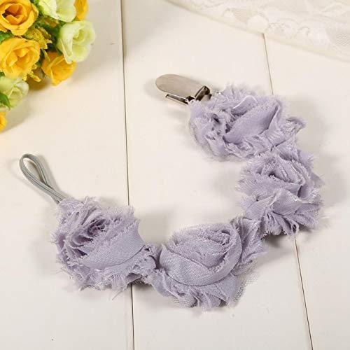 FOLOSAFENAR Multifunción y Multicolor, Cadena de Chupete para bebé, Estilo Flor Rosa,(Gray)