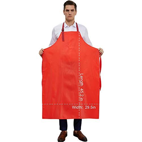 Waterproof Vinyl Long Apron - Lined Linen, Chemical Resistant Work Apron Safe Cloth - Best for DishWashing, Lab Work, Butcher, Dog Grooming, Cleaning Fish, Factory, Garden, Outsides (Red, L)