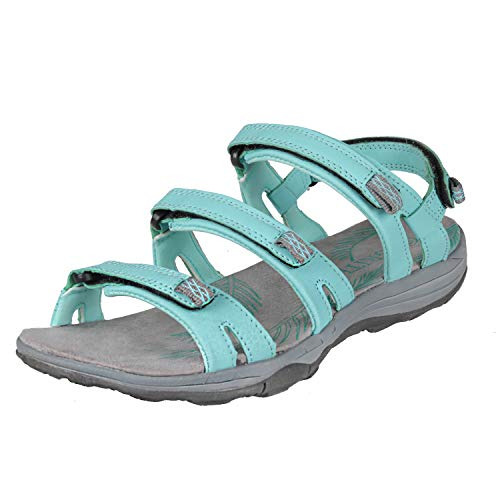 GRITION Women's Hiking Sandals; Summer, Outdoor Sports Sandals; Trekking Sandals; Flat, Open Sandals; Adjustable Velcro Strap; Easy Walking Shoes; Multi-Way