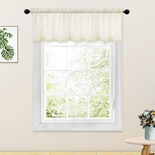 Ivory Valance Curtains Living Room 18 inch Long Linen Textured Curtain Valance Bedroom Windows Curtain Panels Rod Pocket 1 Piece
