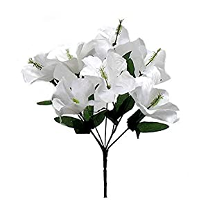 Artificial Flowers – White 5X Hibiscus Artificial Silk Flowers Centerpiece Fake Faux Bouquet Party Tropical~ for Wedding – for Accessories