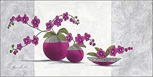 Keilrahmen-Bild - Claudia Ancilotti: Scarlett Leinwandbild Stillleben modern floral lila (50x100)