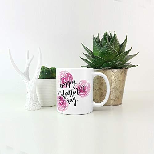 O5KFD & 8 11 oz Valentijnsdag water cappuccino beker beker met handvat porselein retro stijl beker - Love Heart kerstcadeau, pak voor kantoor te gebruiken