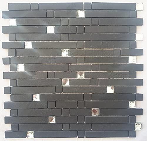 Mosaico mate pizarra cristal diamante antracita piedra natural azulejos negro M050