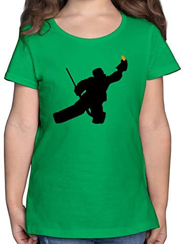 Sport Kind - Towart Eishockey Eishockeytorwart - 140 (9/11 Jahre) - Grün - Kinder t-Shirt Eishockey - F131K - Mädchen Kinder T-Shirt