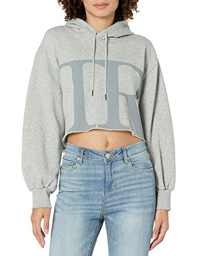 True Religion Damen Cropped Boxy Hoodie Kapuzenpullover, grau, 32
