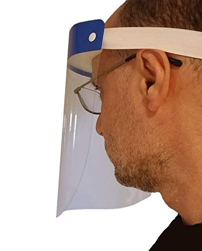 Protective Face Shields (2-pack) - Safety Visor Screen for Saliva and Sneeze Protection - Wearable Facial Screen - Universal Fit [blue] - Germise PFS-1000