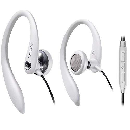Over Ear Earbuds Wired, in Ear Earphones with Microphone, Sport Headphones for Running, Workout, Exercise and Gym by Magnavox (White)