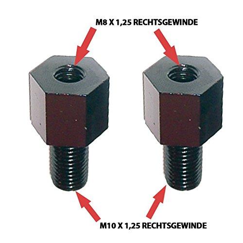 Motorrad Spiegeladapter Rechtsgewinde, M8 auf M10 x 1, 25, schwarz, Paar/Paar