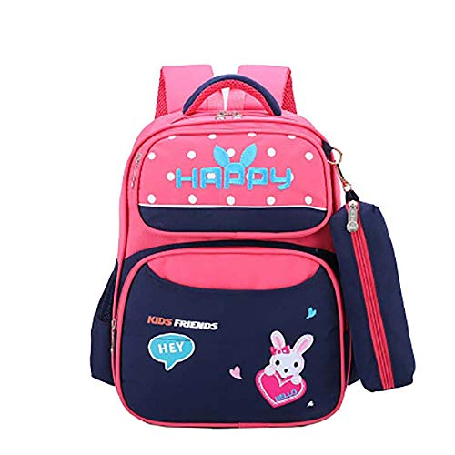 Qinlee Zaino impermeabile per la scuola elementare, per ragazze, per viaggi, grande regalo di compleanno (rosa)