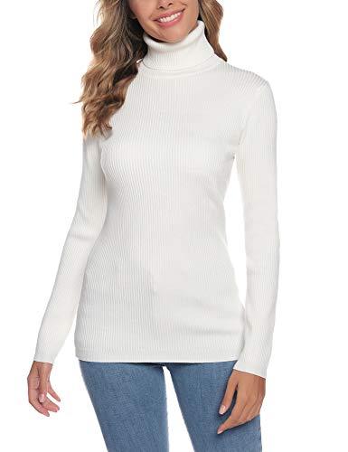 Aibrou Suéter de Cuello Alto para Mujer, Prendas de Punto de Manga Larga elásticas Suaves, livianas y sólidas Jersey con Raya de Diamantes Blanco L