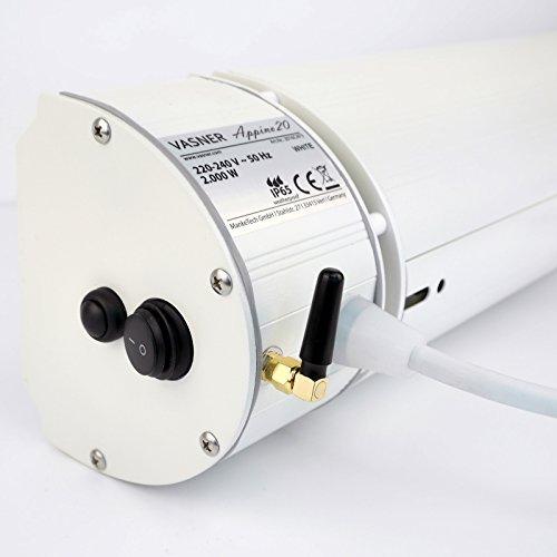 VASNER Infrarot-Heizstrahler Appino 20 weiß, App Steuerung, Fernbedienung, 2000 Watt, Terrassenstrahler elektrisch, Infrarotstrahler Terrasse außen, Bluetooth - 4