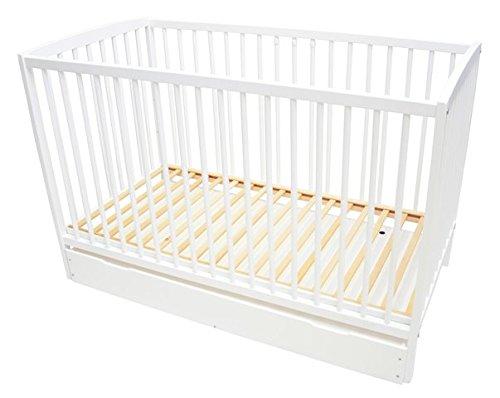 Best For Kids Gitterbett One in weiß Babybett 60x120 cm mit Lattenrost (Weiß mit Schublade mit 6 cm Matratze)