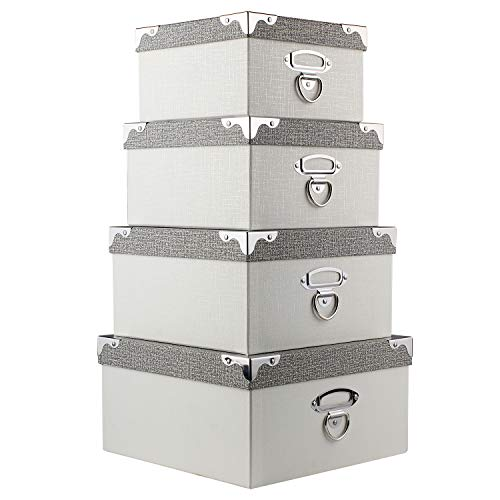 Photo Boxes Storage, Storage Boxes with Lids 4 in 1 Set Water-Proof Storage Box Sets with Handles Decorative Multiple Size Storage Bins with Lids for Kids Toys/Clothes/Shoes/Office/Cosmetic/Books