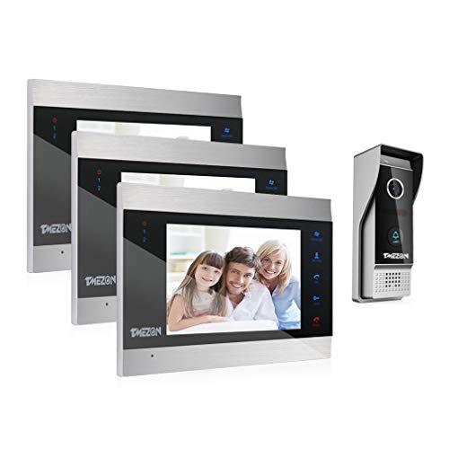 TMEZON 1080P Videocitofono 7 pollici LCD Video Door Phone,3x Monitor Touch Screen,1x1080p citofono Campanello Telecamera Esterna Vista Notturna,Audio Bidirezionale,Supporto Registrazione Istantanea
