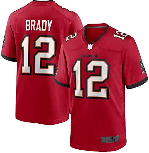PUCQ Outdoor American Football Trikot Tom Kleidung Brady T-Shirt Benutzerdefinierte Tampa Sweatshirt Bay Mesh Trikot Outdoor # 12 Spiel Traning Jersey Trikot - Rot-verrotten_X-Large