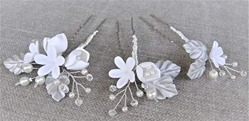 Pack de 3 Horquillas de Flores Blancas con hojas plateadas, Cristales de Swarovski. Hechas a mano con porcelana fría. Horquillas para boda. Tocado de novia.