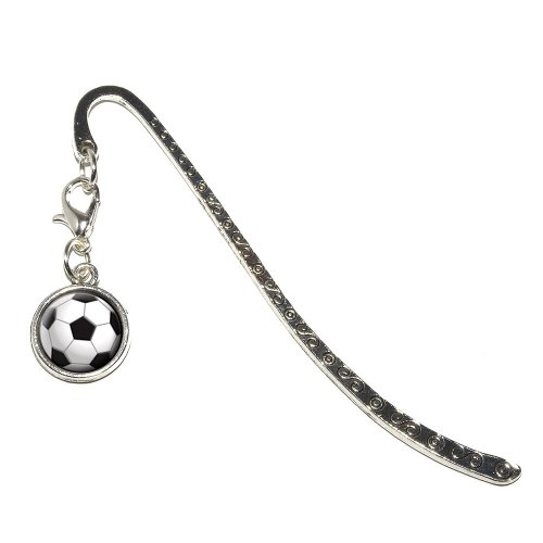 Soccer Ball Sporting Goods Sportsball Metal Bookmark Page Marker with Charm