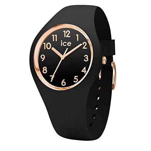 Ice-Watch - ICE glam Black Rose-Gold Numbers - Schwarze Damenuhr mit Silikonarmband - 014760 (Small)