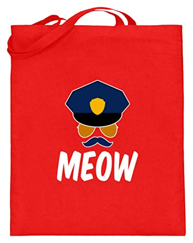MEOW - Gato Sheriff con chupete, tapa y gafas, bolsa de yute (con asas largas), color, talla 38cm-42cm