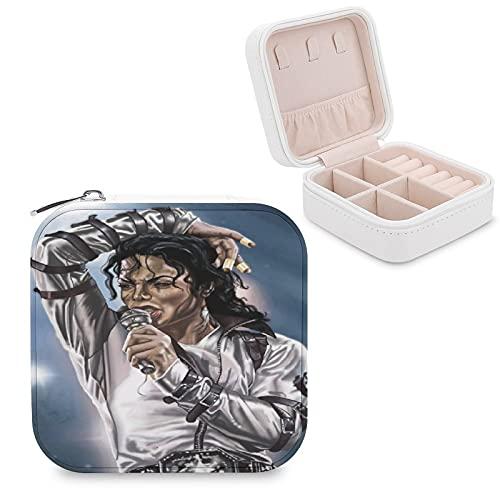 Art Paintings by Michael Jackson Joyero de piel sintética pequeño portátil de viaje caja de almacenamiento de joyas para collar, pendientes, anillos de joyería para niñas y mujeres