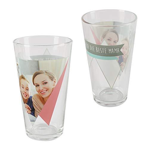 Herz & Heim® Foto Trinkglas mit Wunschtext - tolle persönliche Geschenkidee