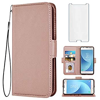 Compatible with Samsung Galaxy J3 Orbit J 3 Star 2018 3J Achieve Wallet Case with Tempered Glass Screen Protector Flip Cover Card Holder Phone Cases for Glaxay J3V V 3rd Gen SM J337A J337V Rose Gold