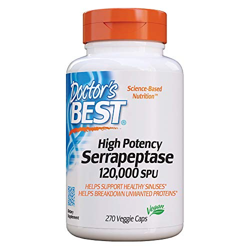 Doctor's Best High Potency Serrapeptase, Non-GMO, Gluten Free, Vegan, Supports Healthy Sinuses, 120, 000 SPU, 270 Veggie Caps