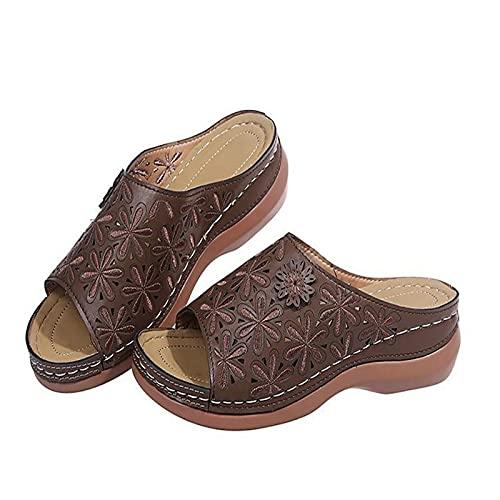 ZYLL Zapatillas de Verano para Mujer, Sandalias de Cuero de PU con Cabeza Redonda, Sandalias de corrección de pie con Dedo Gordo Suave Informal, Corrector ortopédico de juanetes,Marrón,42