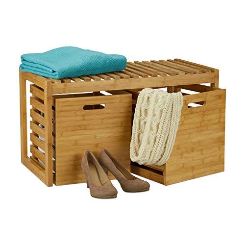 Relaxdays Sitzbank mit Stauraum, Bambus, 2 Aufbewahrungsboxen, Bank für Flur, Bad, Garderobe, HBT 44,5x80x40 cm, Natur