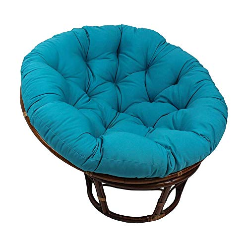 KEOA Round Thick Rattan Papasan Chair Cushion Cotton Overstuffed Hammock with Ties Nest Chair Pads Hanging Egg Seat Padded for Outdoor Patio Yard-80cm(31.5 Blue