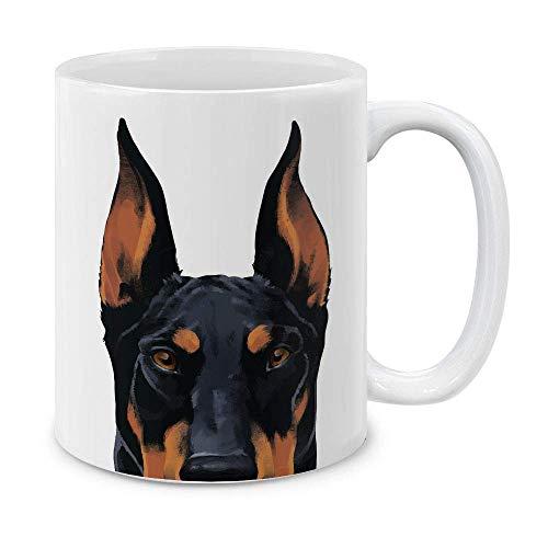 NA MUGBREW Schwarzer Rost Dobermann Pinscher H& Weiße Keramik Kaffeetasse Teetasse, 11 OZ