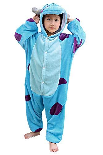 """YAOMEI Niños Onesies Kigurumi Pijamas, Niña Traje Disfraz Capucha, Ropa de Dormir Halloween Cosplay Navidad Animales de Vestuario (140 para Niño Altura 130-140CM (51""""-55""""), Sullivan)"""