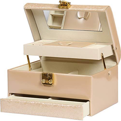 Boîte à Bijoux Sac Cosmétique Multi-Fonction Boîte à Bijoux en Cuir Grande capacité imperméable à l'eau Portable Voyage Maison Portable Beige