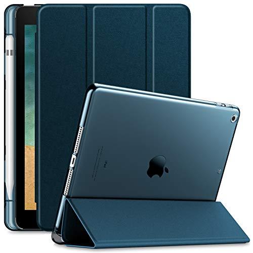 INFILAND Hülle für iPad 9.7 2018, iPad 6. Generation Hülle, Superleicht Durchscheinend Gefrostet Schutzhülle Hülle mit Pencil Halter, Auto Schlaf/Wach,Dunkleblau