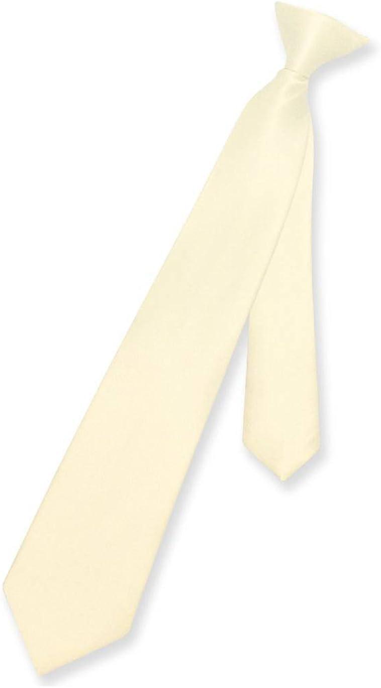Vesuvio Napoli Boy's CLIP-ON NeckTie Solid CREAM Color Youth Neck Tie